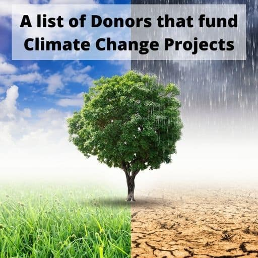 A list of Donors that fund Climate Change Projects around the world